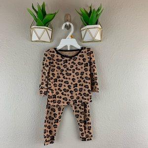 Kickee Pants Cheetah 2 Piece Pajamas Size 6-12 M